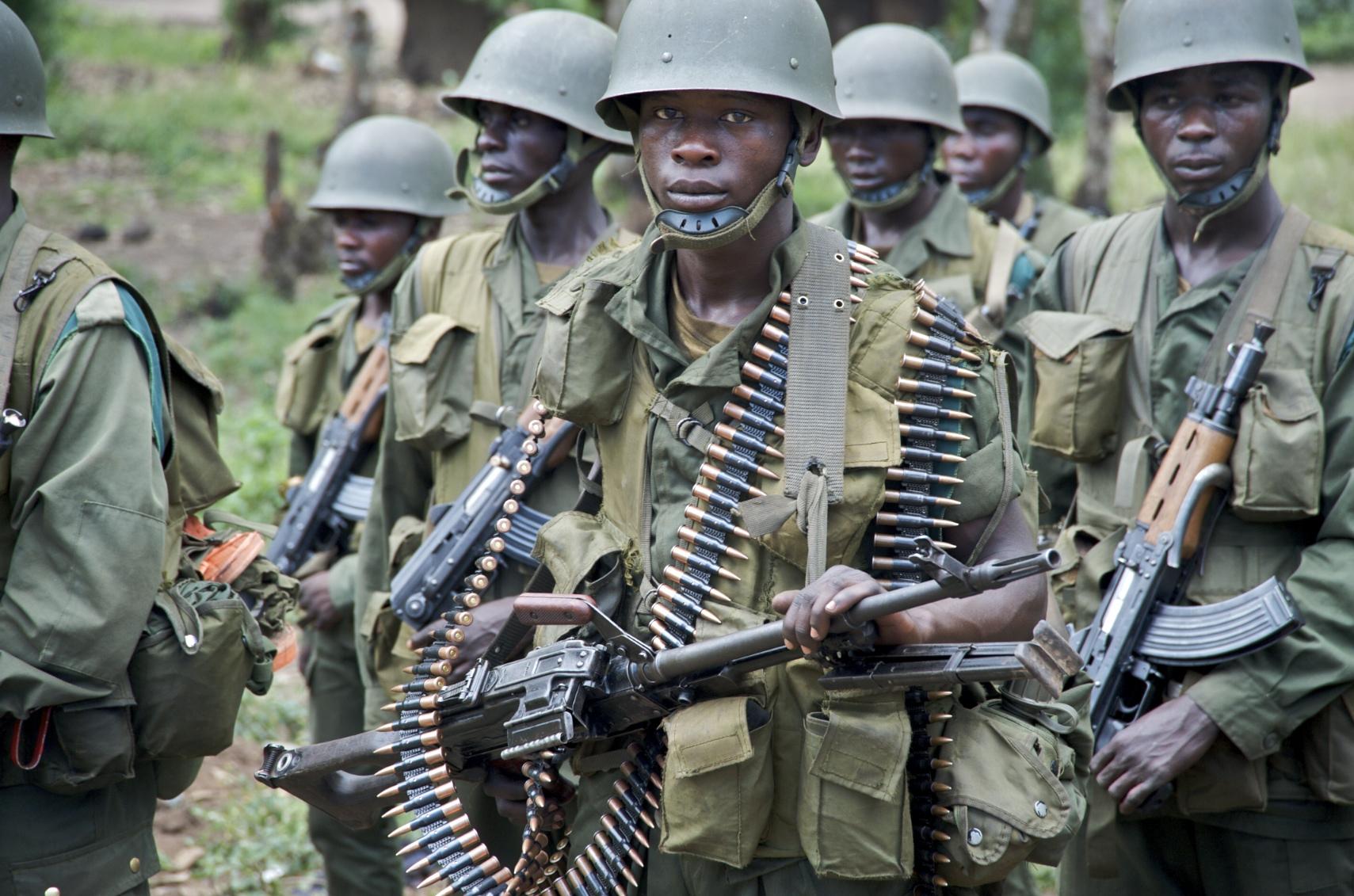 Government soldiers during training, Rutshuru, Democratic Republic of Congo