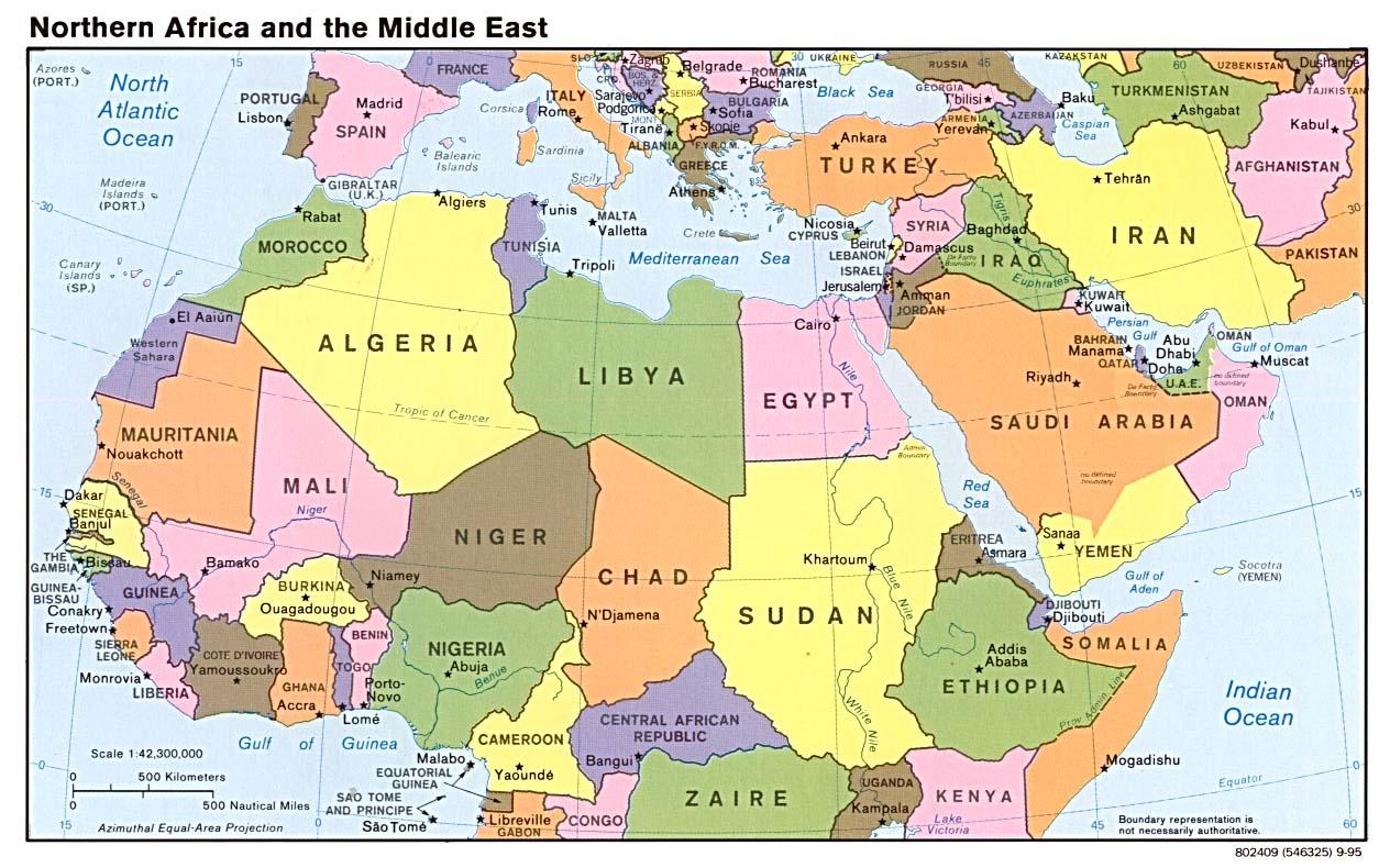 Mappa Italia Africa e Middle East
